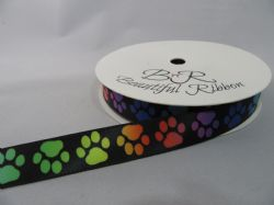 Black with Multi Coloured Paw Print  Satin ribbon, 2 or 25 metres, Double sided 15mm